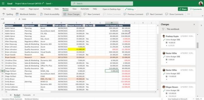 网页端Excel新功能:追踪过去60天同事对工作簿的所有更改