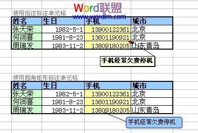 Excel表格制作方法:标注