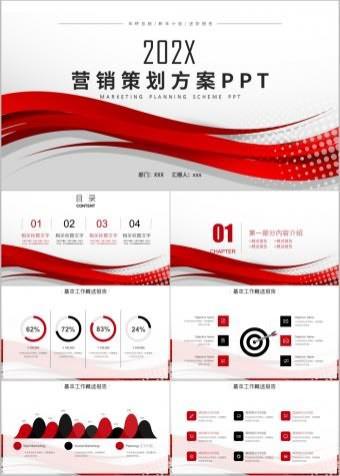红色创意商务简约营销策划方案ppt模板