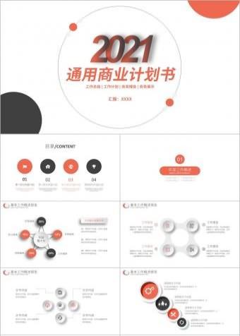 蓝橙立体商务创业计划商业融资计划书PPT模板
