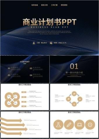 金色商务简约2021通用商业计划书PPT模板