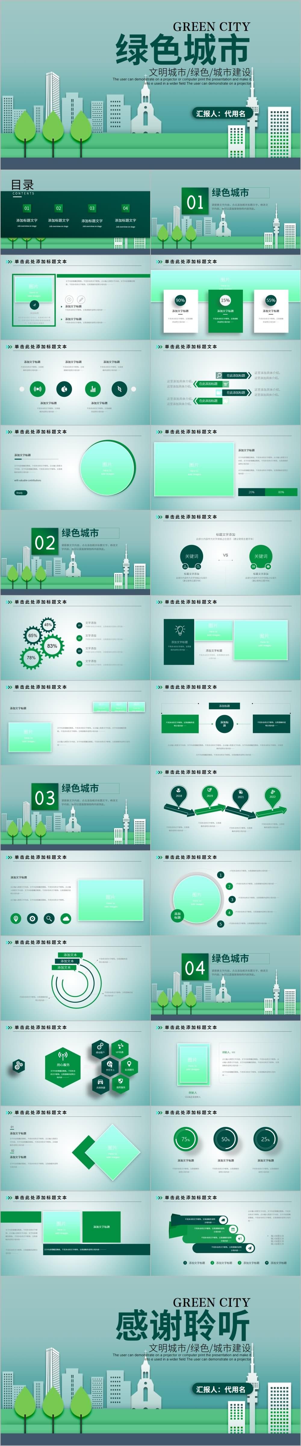 绿色城市文明城市建设汇报PPT模板
