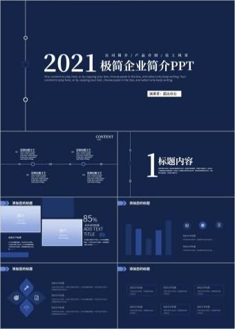 高端简约大气蓝色商业计划书商务PPT动态模板