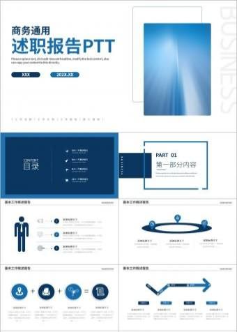 商务工作总结工作计划述职报告PPT模版