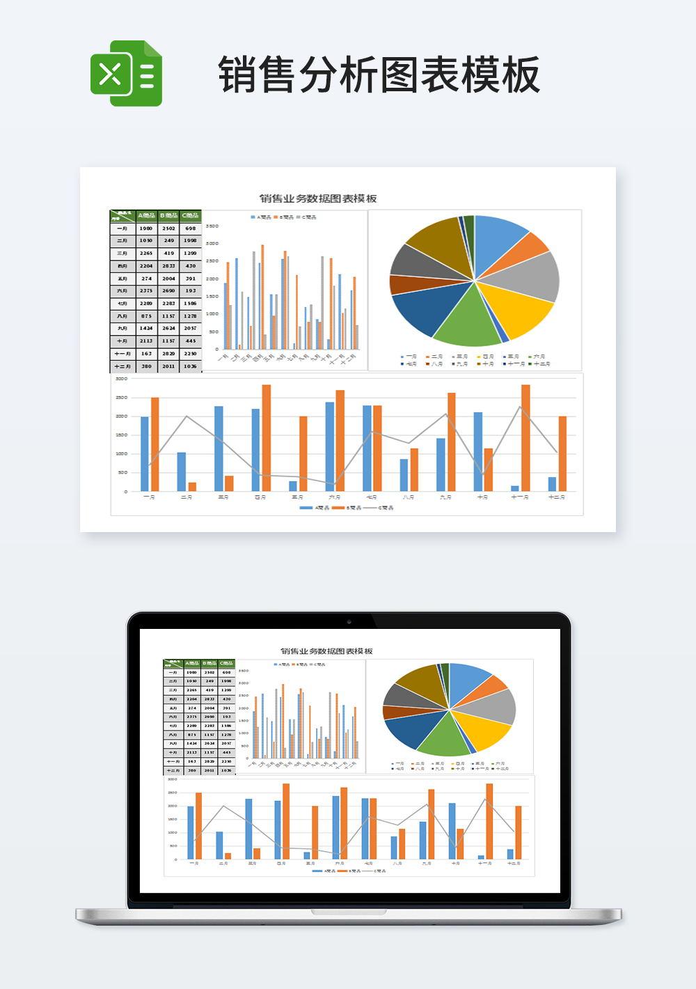 销售业务数据图表模板
