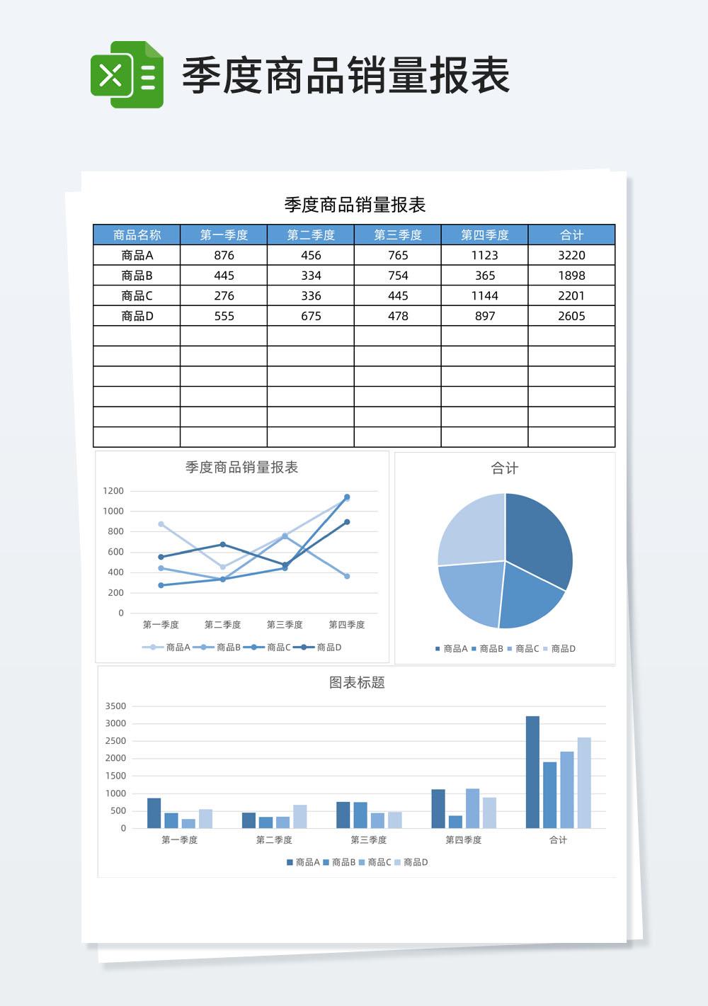 季度商品销量报表
